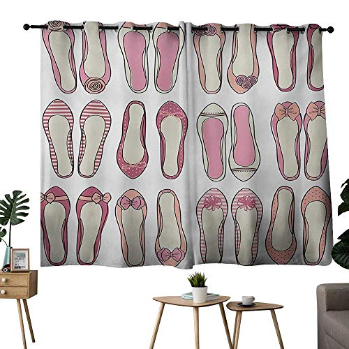 NUOMANAN Curtains for Living Room Girls,Ballerina Shoes with Ribbon Roses Stripes and Polkadots Stylish Feminine Kids Design,Pink Beige,Thermal Insulated,Grommet Curtain Panel Set of 2 42