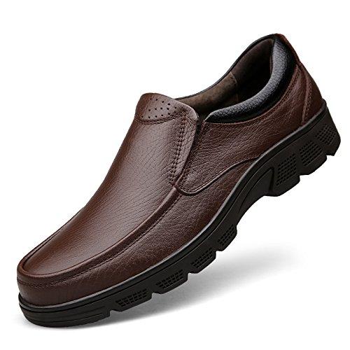 LHLWDGG.K Zapatos De Vestir Para Hombres Round Head Comfort Oxford Hombres De Hombres Oficiales Tallas 38-47, Marrón Slip-On1503,12 12|brown slip-on1503