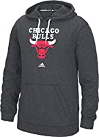 Chicago Bulls Mens Heather Dark Charcoal Ultimate Logo Synthetic Hoodie Top by Adidas