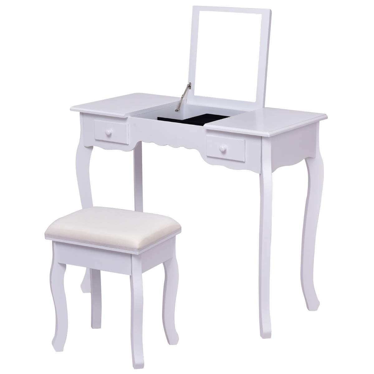 Giantex vanity table and stool set top flip mirror cushioned bench vanities desk for bedroom with removable organizers makeup tables dresser