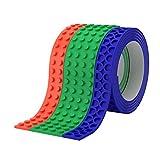 build your ki - Toy Building Block Tape, Fun Pack of Reusable Self Adhesive Block Tape Rolls for Kids :: Cut, Peel, Stick & Create Anywhere :: Building Block Toys (Red Original, Green Wide, Blue Receiver Starter Ki)