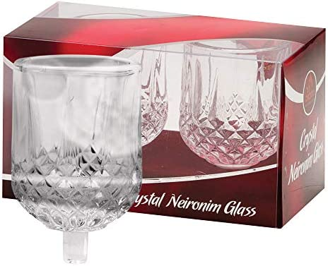 Ner Mitzvah Neironim Crystal Shabbos Candle Holders - 2 Pack - Premium Quality Clear Votive Cups, Standard Size for Shabbat, Chanukah and Party Decoration