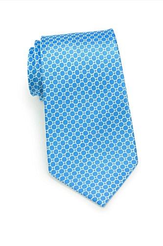 Bows-N-Ties Men's Necktie Geometric Print Silk Satin Tie 3.1 Inches (Marine Blue) - Design Printed Silk Tie