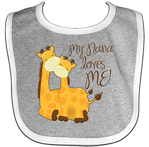 Inktastic - My Nana loves me! Baby Bib Heather/White
