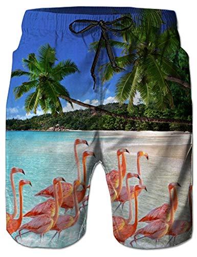 Belovecol Mens Bathing Suits 3D Print Hawaiian Flamingo Pattern Swim Trunks Long - Pattern Flamingo