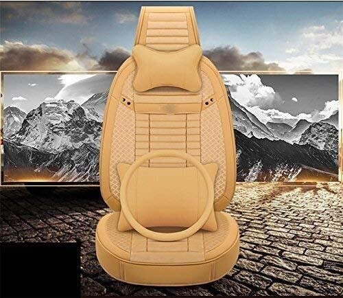 HL-TD Car Seat Cushions Full Set PU Front&Rear Seat Cover Anti-Slip Deluxe Automotive Cushions Seat Universal 5 Seats Car Seat Covers Durable