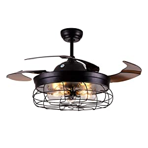 "Ceiling Fan with Light 42 Inch Industrial Ceiling Fan Retractable Blades Vintage Cage Chandelier Fan with Remote Control, 5 Edison Bulbs Needed Not Included, Black (42"" Vintage Black)"