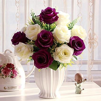 T Continental emulación rosa Artificial flores maceta de plástico adornos Sala de estar mesa