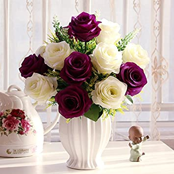 T Continental emulación rosa Artificial flores maceta de plástico adornos Sala de estar mesa de comedor muebles, Deep Purple Durian + botella novia rosa: ...