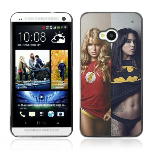 ARTCASES CollectionsTM Black Hard Back Case for HTC ONE ( M7 ) ( Sexy Superhero Girls Batman )
