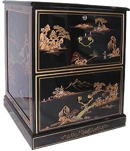 Amazon Com Oriental Black Lacquer Two Drawer File Cabinet