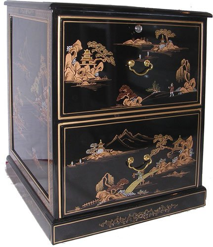 Asian Cabinet Painted - Oriental Black Lacquer two Drawer File Cabinet, Hand Painted Gold Japanese Landcape with Glass Top - 30