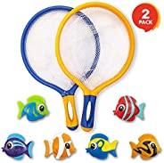 ArtCreativity Fishing Net Catch Game, Set of 2, Each Set with 1 Fishing Net and 6 Colorful Fish Toys, Pool Toy
