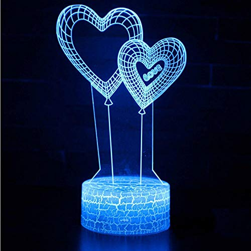 (Zonxn Night Light Double Heart Balloon Theme 3D Lamp Led Night Light 7 Color Change Touch Mood Lamp Christmas Present)
