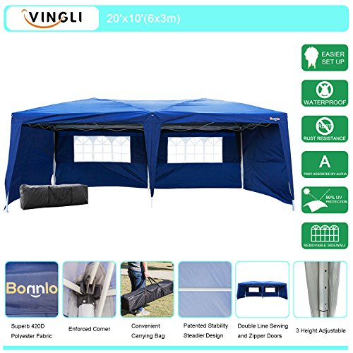 Sidewall Panel (VINGLI Heavy Duty 10'x20' EZ Pop Up Canopy Tent with 4 Removable Sidewalls Panels, Folding Instant Wedding Party Event Commercial Pavilion Gazebo W/ Carrying Case Bag Blue)