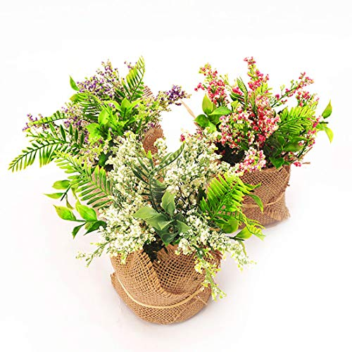 BEGONDIS Set of 3 Artificial Flowers with Flax Bag, Fake Silk Flowers Arrangement for Home Office Restaurant Party Table Centerpieces Windowsill Decoration, for Mother Birthday Valentine's Day (Floral Arrangements Table)