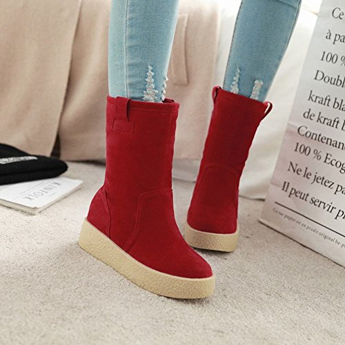 Latasa Dames Faux Nubuck Platte Korte Slouch Boots Rood