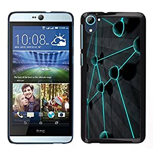 // PHONE CASE GIFT // Duro Estuche protector PC Cáscara Plástico Carcasa Funda Hard Protective Case for HTC Desire D826 / Teal Color Vibrant Planet Network /