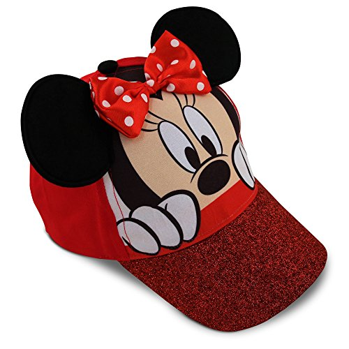 Disney Little Girls Minnie Mouse Character Cotton Baseball Cap, Age 2-7 (Little Girls - Age 4-7 - 53CM, Red) by Disney (Image #4)