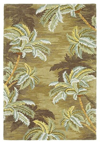 Wool Tropical Floral Area Rug - Kas Rugs 3102 Sparta Palm Trees Area Rug, 3-Feet 6-Inch by 5-Feet 6-Inch, Moss
