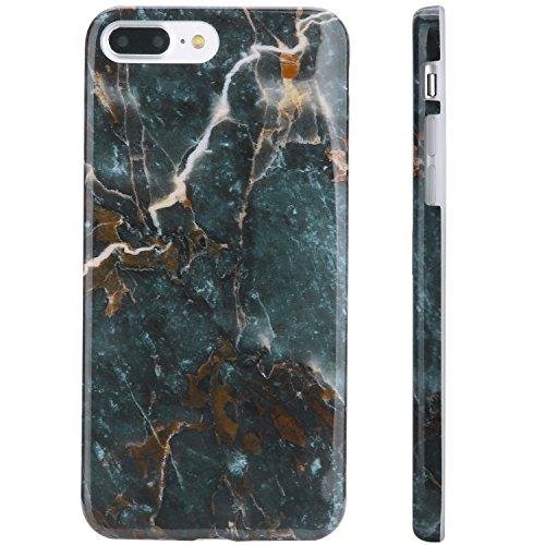 "Marble iPhone 7 Plus Case Dark Green , iPhone 8 Plus Case,KINFUTON IMD TPU Anti Scratch Sleek Soft Case, Compatible with iPhone 7 Plus/iPhone 8 Plus 5.5"" (Dark Green Marble-K37)"