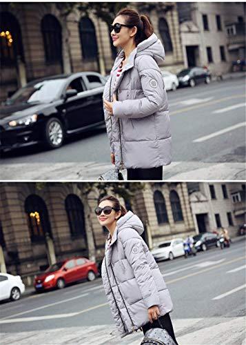 Stepp Costume Casual Outdoor Couleur Grau Manches Femme Doudoune Chemine Capuchon Hiver Unie Mode Hiver Warm Parka Elgante Longues Manteau paissir 4vzwz6