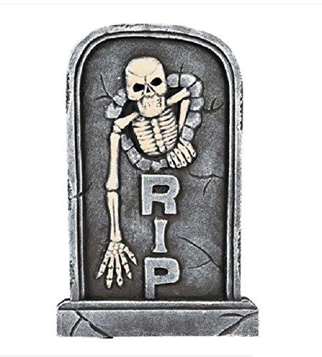 21-Inch RIP Skeleton Cemetery Tombstone Halloween Prop - Hardened Foam (Foam Tombstone)