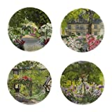 GIEN - Luxurious French Earthenware PARIS A GIVERNY Set of 4 Canape Plates