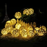 FOU Globe String Lights Battery Operated 8Ft 20 LED Warm White Fairy Light for Indoor,Bedroom,Curtain,Patio,Lawn,Landscape,Fairy