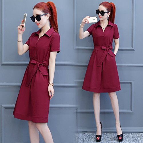 MiGMV?Robes Une Robe, Une Robe, Une Taille Mince et Une Courte Jupe d't,M,Wine Red
