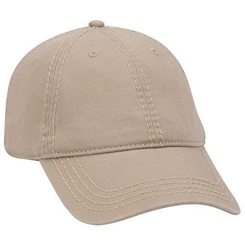 - OTTO Garment Washed Superior Cotton Twill 6 Panel Low Profile Dad Hat - Khaki
