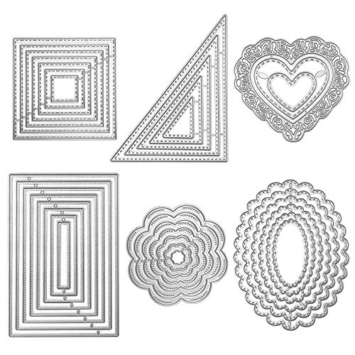 Die Cuts Cutting Dies Metal Square Rectangle Oval Flower Heart Triangle Embossing Stencils Template Mould for Card Scrapbooking and DIY Crafts 6 Set 36 ()