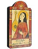 Saint Cecilia Patron Saint of Music and Musicians Handmade Retablo Plaque, 3.5 x 7.25 Inches