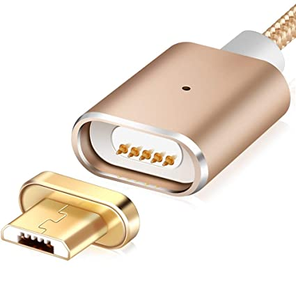 Geeky G03 Nylon Magnetic Micro USB 2 4A Fast Charging Cable (Micro USB,  Gold)