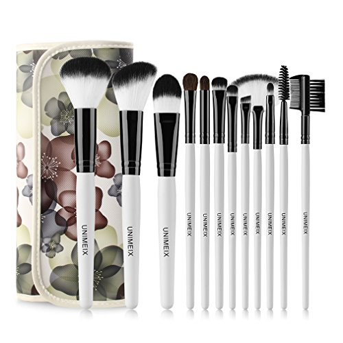 UNIMEIX Makeup Brush Set 12 Pieces Professional Makeup Brushes Foundation Contour Eye Concealer Cosmetic Brushes Black (Designer Large Fan)