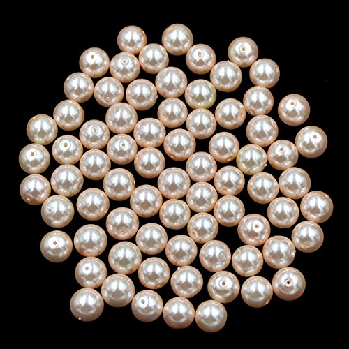AD Beads Top Quality Czech Glass Pearl Round Loose Beads 3mm 4mm 6mm 8mm 10mm 12mm (10mm (150 Pcs), Light Peach)