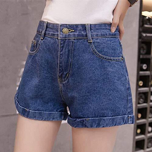 Pantaloncini Larghi Blau1 Classiche Con Ampi Donna Alta A Pantaloni Da Denim Donne Fori Tasche Vita 5 rrqdpZnw