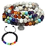 CAT EYE JEWELS 8mm Amazonite 108 Buddhist Prayer Beads 7 Chakra Multilayer Yoga Meditation Mala Tree of Life Bracelet Necklace Healing Lava Rock Beads Diffuser Bracelet