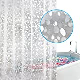 Feagar EVA Shower Curtain Liner with Free Hooks, Mold&Mildew Resistant Waterproof Anti-bacterial 72x72-Inch-PVC Free, Non Toxic, Eco-Friendly, Odorless 3D Pebble Bathroom Curtains, Semi-transparent