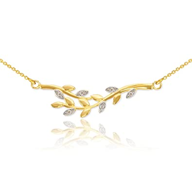 dfc410b1b Amazon.com: Polished 14k Yellow Gold Double Olive Branch Pendant Necklace  with Natural Diamonds, 16