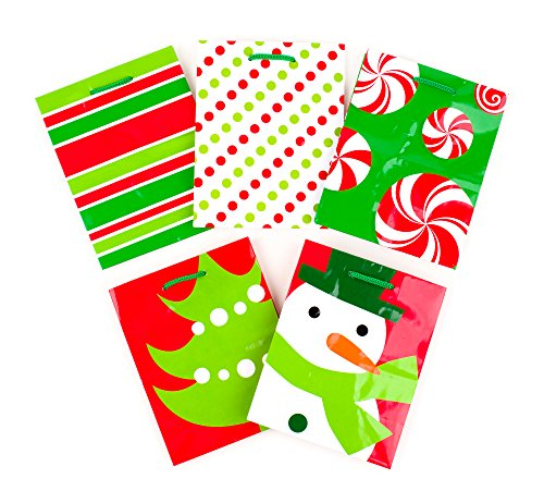 Hallmark Holiday Small Gift Bags (Red & Green Icons, Pack of 5) - Green Dot Christmas Candy Cane