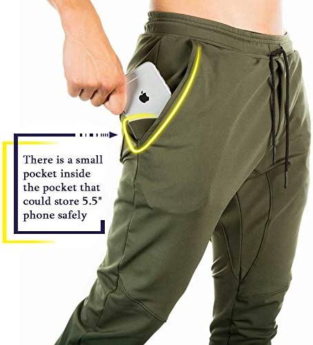 TBMPOY Mens Athletic Running Pants Joggers Workout Sweatpants with Zipper  Pockets Sports & Outdoors Sports & Fitness
