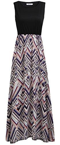 Long Women's Boho Maxi Chevron Striped POGTMM Tank Swing Casual Pockets Sleeveless Dress Summer Black with zqdawvwC