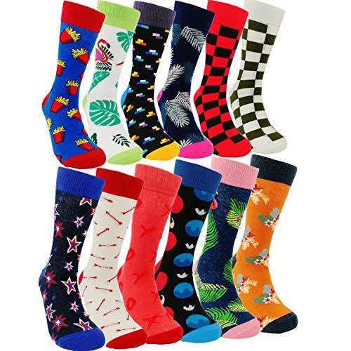 Mens Colorful Dress Socks Funky - HSELL Men Multicolored Pattern Fashionable Fun Crew Cotton Socks (Muti-12 - Dress Sock Support Mens