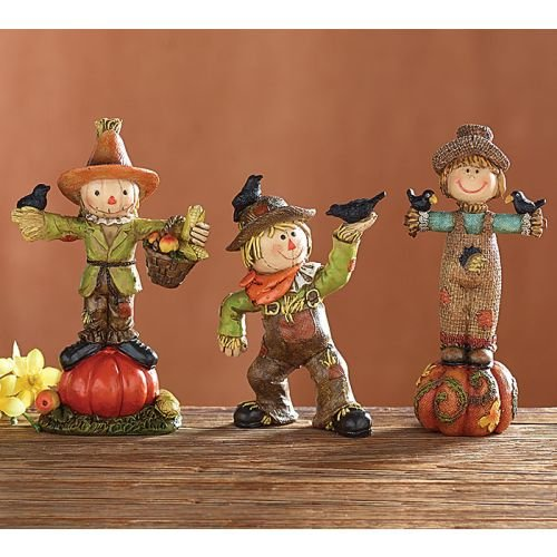 Set of 3 Autumn Scarecrow Figurines Accented with Pumpkins, Basket, Crow