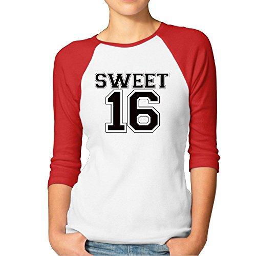 Birthday Sweet 16 Sweet Sixteen Gift Womens Contrast Raglan Baseball Shirt -