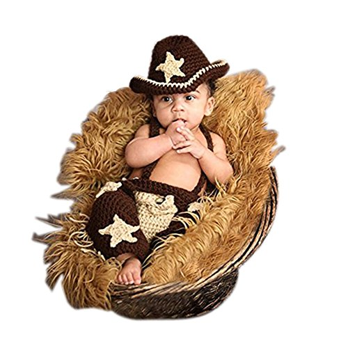 Fashion Newborn Boy Girl Baby Costume Outfits Photography Props Cowboy Hat Pants (Baby Cowboy Costume)