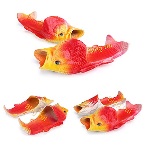 BING RUI CO 5 Colours Fish Slippers Beach Shoes Non-Slip Sandals Creative Fish Slippers Men and Women Casual Shoe (Yellow + red, 11 M US Women/9.5 M US Men)