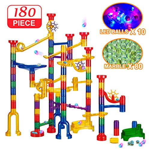 Banvih 180 Pc Marble Run Track with LED Lighted Marbles | Light Up Marbles for Extreme Night Play | STEM Building Blocks Discovery Toy Set - Build Super Mazes, Racers, Ramps and Towers