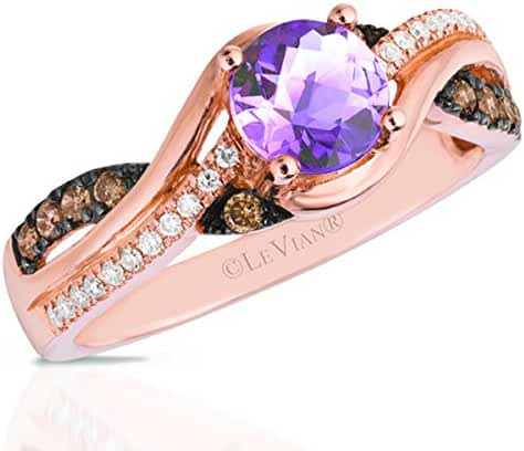 LeVian Cotton Candy Amethyst 14K Rose Gold Chocolate Diamond Ring